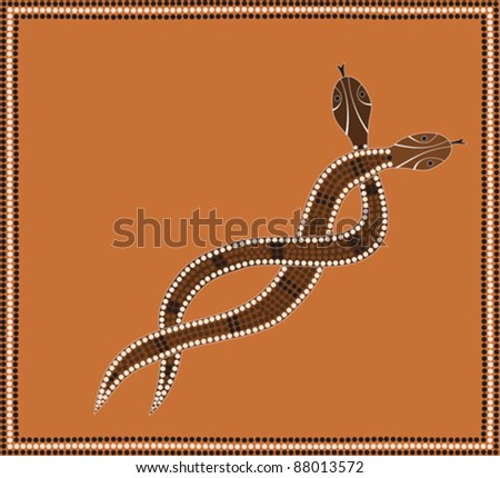 A illustration based on aboriginal style of dot painting depicting brown snake pair convoluted