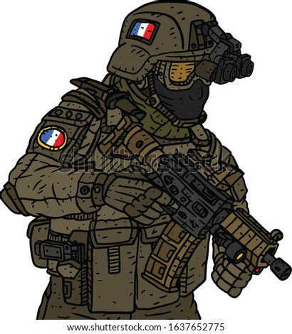 a illustration of a military soldier wearing a bulletproof vest and a helmet and decorated with french looking insignia flag patches.