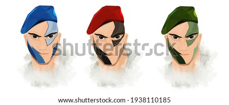 A illustration of air,sea,land and a commando soldier with camouflage pattern on his face and with red, green caps. Zdjęcia stock ©