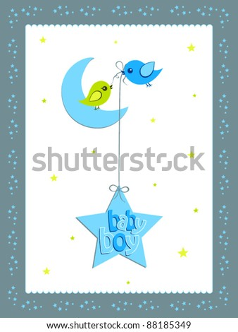 a illustration of greeting card with moon and stars for baby boy