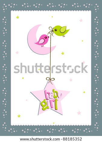 a illustration of greeting card with moon and stars for baby girl