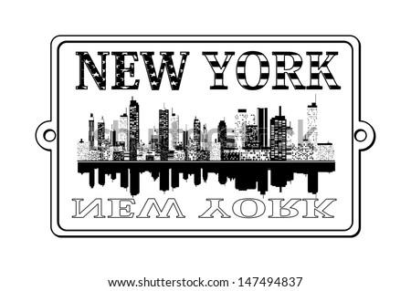 a illustration of new york label
