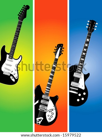 A illustration of the 3 guitars on colorful backgrounds.
