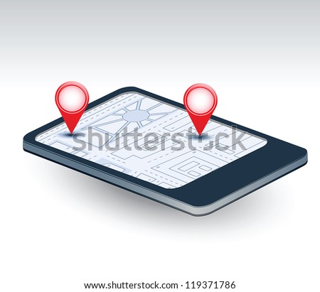 A isometric view of a mobile phone with navigation map