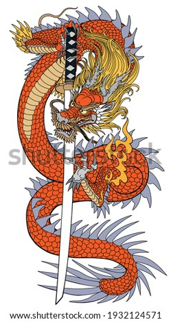 A Japanese dragon with a katana sword. Asian and Eastern mythological creature. Isolated tattoo style vector illustration