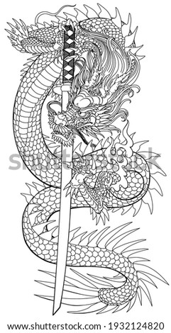 A Japanese dragon with a katana sword. Asian and Eastern mythological creature. Isolated tattoo style outline vector illustration