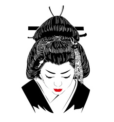 a Japanese hostess trained to entertain men with conversation, dance, and song. Geisha. Vector illustration on white background.