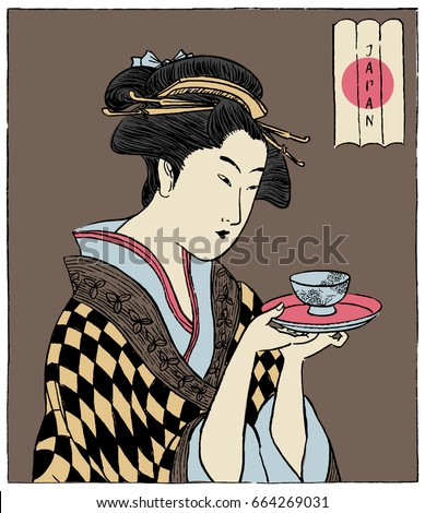 a japanese woman holding a cup