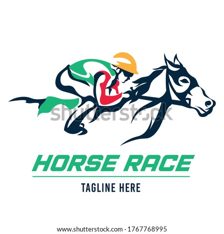 A jockey races his horse, suitable for logo of a racing club, stable and farm, as well as horse racing events Foto stock ©