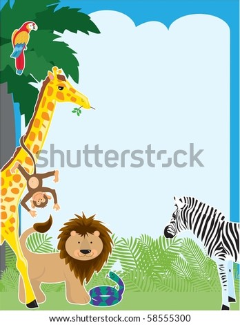 A jungle border design featuring a parrot, giraffe, monkey, lion, snake and a zebra - stock vector