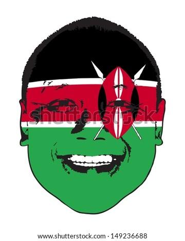 a kenya flag on a face