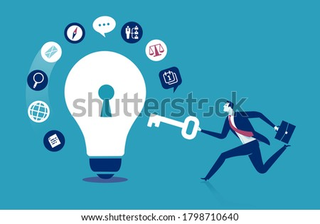 A key to successful business. The manager brings a key solution. Vector illustration. Zdjęcia stock ©