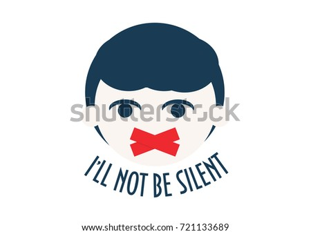 A Kid with duct tape on his face. Speak out about children rights concept vector illustration. Childhood trauma, domestic violence and society silence about it. Text: I'll not be silent.