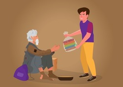 A kind young man donates money and clothes in plastic bags to the homeless and the poor. flat style cartoon illustration vector