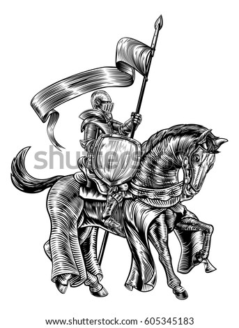 a knight holding a spear or