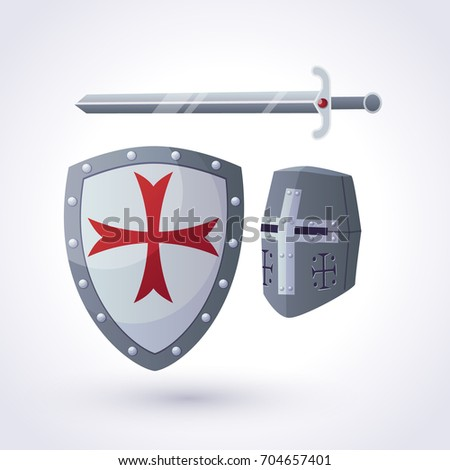 A knightly helmet, a shield and sword. Vector clip art