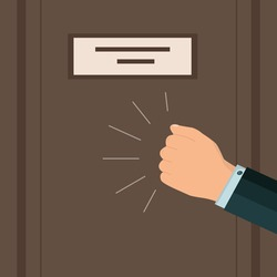 A knock on the door. A businessman's hand or fist is knocking. Please allow me to enter the room. Vector. Flat style.