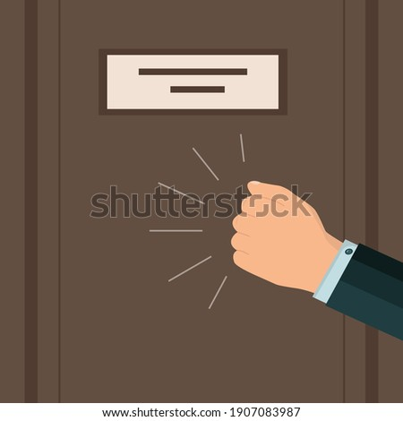 A knock on the door. A businessman's hand or fist is knocking. Please allow me to enter the room. Vector. Flat style. Foto d'archivio ©