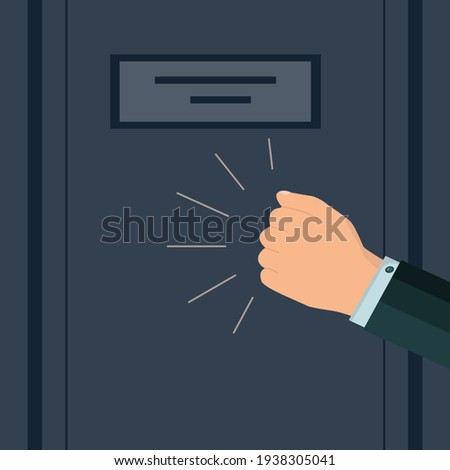 A knock on the door. The man's hand is knocking on the door. Please allow me to enter the room. The businessman's insistent knock. Vector illustration. Flat style. Foto d'archivio ©