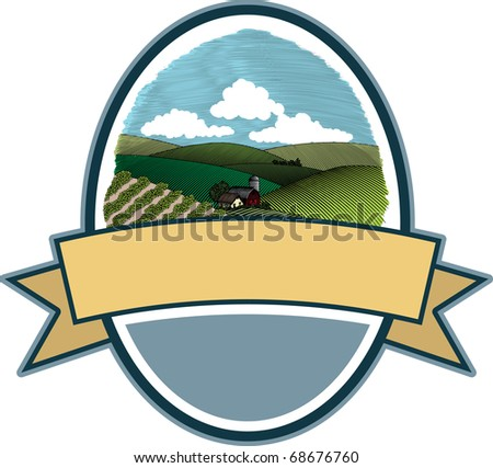 A label featuring a woodcut style illustration of a rural farm scene.