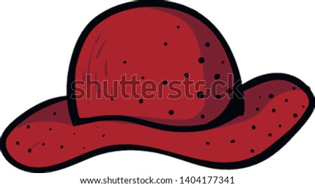 A lady's red summer hat with eye-catchy black spot designs perfect for outdoor adventures, holiday outfits, and adequate sun protection, vector, color drawing or illustration.