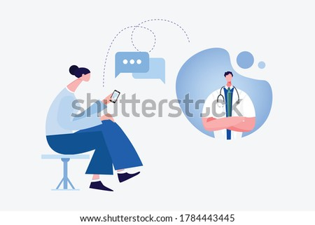 A lady with a smartphone consulting with a doctor .Online consultation doctor concept. Flat design concept of online medicine and healthcare application over the Internet. Doctor online vector.