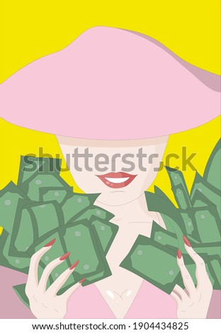 a lady with hands full of cash