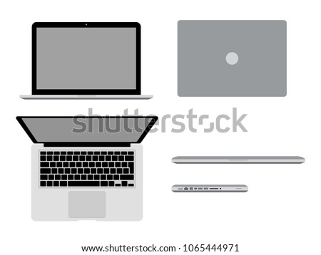 A laptop Pro in different positions Vector illustration. Open macbook, closed, in profile and top view. Modern computer mockup concept. A bitten apple
