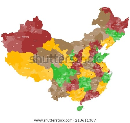 A large and detailed map of China with all prefectures and main cities
