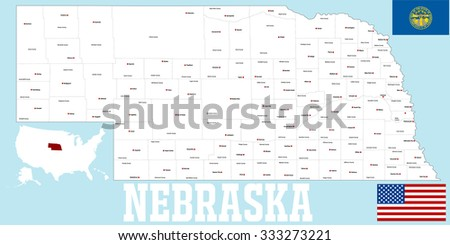 A large and detailed map of the State of Nebraska with all counties and main cities.