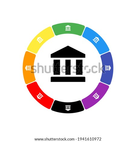 A large black bank symbol in the center, surrounded by eight white symbols on a colored background. Background of seven rainbow colors and black. Vector illustration on white background