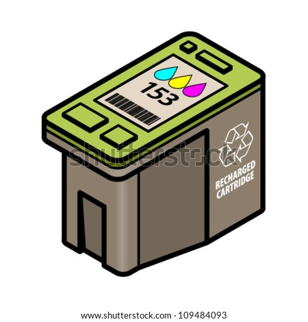 A large-capacity recharged/recycled inkjet printer cartridge with cyan, yellow, magenta colour ink.