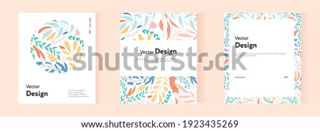 A large collection of brochure templates with the company's signature floral style. Business presentation vector vertical orientation layout of the first page set.  Stockfoto ©