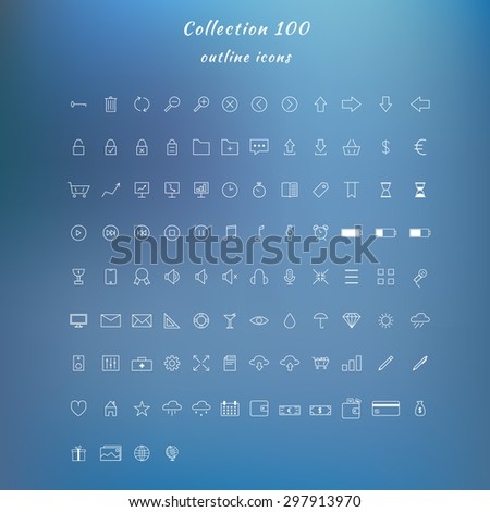 a large collection of outline icons