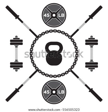 A large collection of vector gym icons on a white background. Symbols include barbells, dumbbells, chains and a kettlebell.