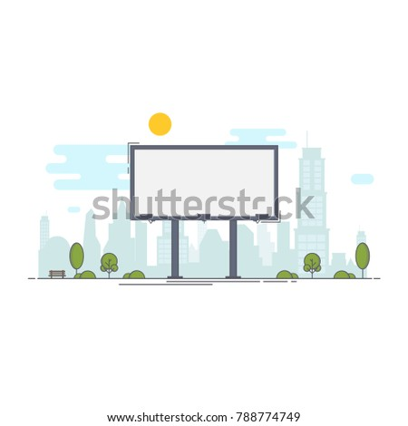 A large empty city billboard for your advertising and then the city.