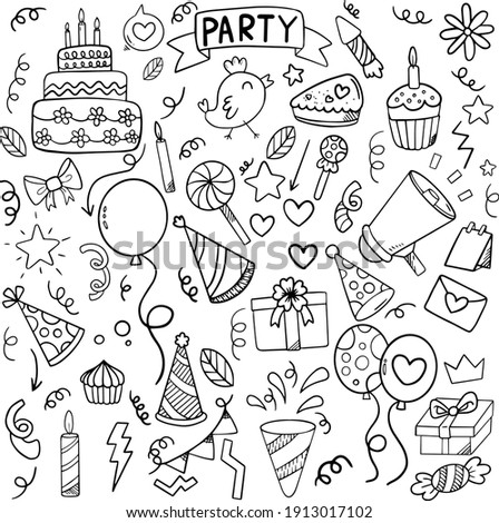 A large festive set of cliparts. Party time doodle clipart with fireworks, party hat, holiday gift box. Hand-drawn icons