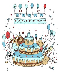 A large group of animal friends at a huge cake with a candle wishes a happy birthday. Vector graphics, postcard.