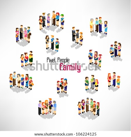 a large group of people and family vector icon design