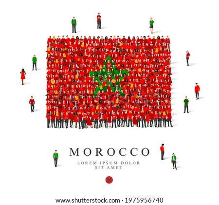 A large group of people are standing in green and red robes, symbolizing the flag of Morocco. Vector illustration isolated on white background. Morocco flag made from people.