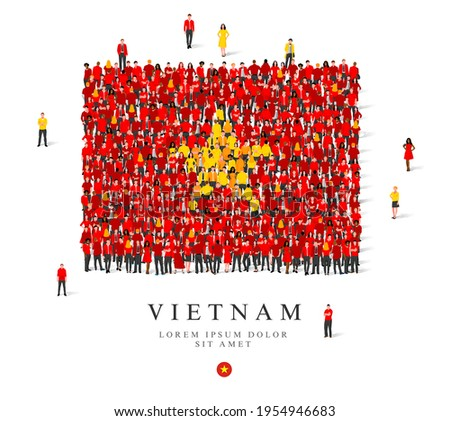 A large group of people are standing in red and yellow robes, symbolizing the flag of Vietnam. Vector illustration isolated on white background. Vietnam flag made from people.