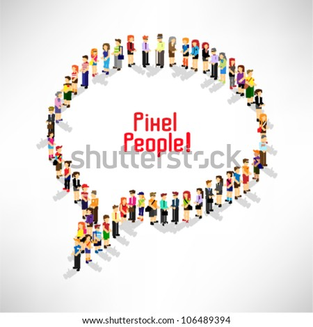 a large group of people gather and queuing up together vector icon design