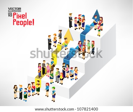 a large group of people gather together on stairs with arrow vector icon design