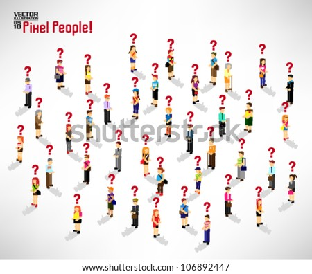 a large group of people gather together with question mark vector icon design