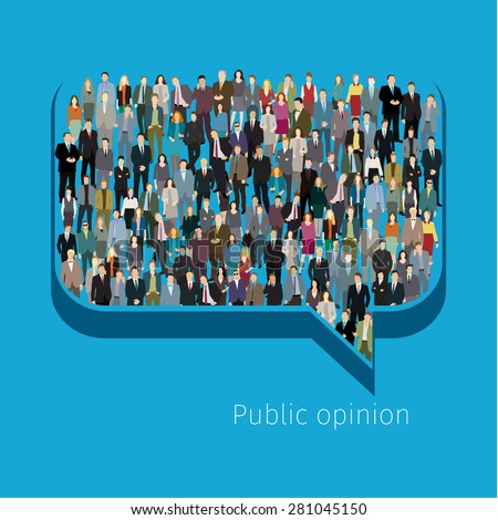 A large group of people in shape of chat bubble. Flat design vector illustration
