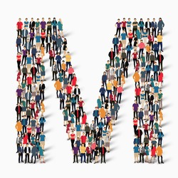 A large group of people in the shape of the letter M. Vector illustration.