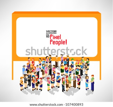 a large group of people standing in front a blank board vector icon design - stock vector