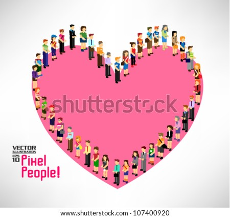 a large group of pixel people forming into love shape vector icon design