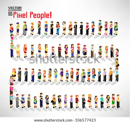 a large group of pixel people vector icon design