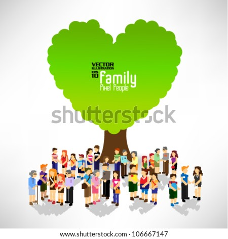 a large group of pixel people with love tree vector icon design